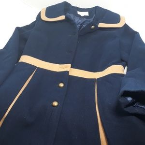 Modcloth Navy and Cream Flared Coat